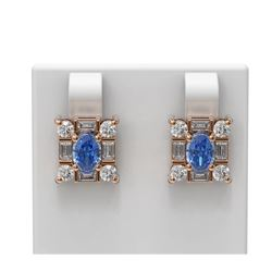 3.64 ctw Tanzanite & Diamond Earrings 18K Rose Gold - REF-178W2H