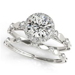 1.11 ctw Certified VS/SI Diamond 2pc Wedding Set Halo 14k White Gold - REF-148M2G