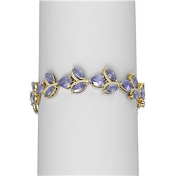 31.02 ctw Tanzanite & Diamond Bracelet 18K Yellow Gold - REF-872X8A