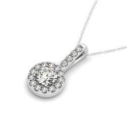 2 ctw Certified VS/SI Diamond Halo Necklace 14k White Gold - REF-486R3K
