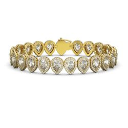 18.55 ctw Pear Cut Diamond Micro Pave Bracelet 18K Yellow Gold - REF-2549R2K