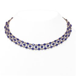 43.07 ctw Sapphire & Diamond Necklace 10K Rose Gold - REF-527M3G