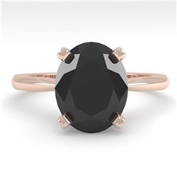 5.0 ctw Oval Black Diamond Engagment Designer Ring 18k Rose Gold - REF-147F2M
