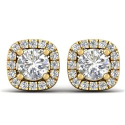 1.08 ctw Certified VS/SI Diamond Stud Halo Earrings 14k Yellow Gold - REF-103R3K