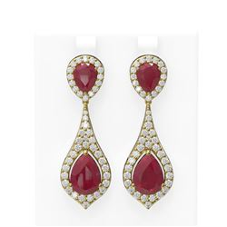 13.6 ctw Ruby & Diamond Earrings 18K Yellow Gold - REF-343M6G