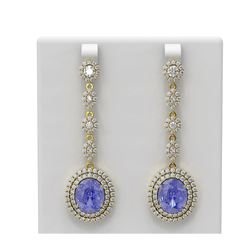 15.03 ctw Tanzanite & Diamond Earrings 18K Yellow Gold - REF-709N3F