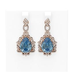 23.35 ctw Blue Topaz & Diamond Earrings 18K Rose Gold - REF-436G4W