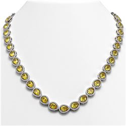 33.35 ctw Fancy Citrine & Diamond Micro Pave Halo Necklace 10k White Gold - REF-590F5M