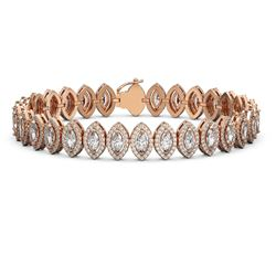 13.1 ctw Marquise Cut Diamond Micro Pave Bracelet 18K Rose Gold - REF-1100X6A