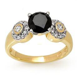 1.90 ctw VS Black & White Diamond Ring 14k Yellow Gold - REF-81W3H