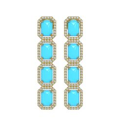 11.13 ctw Turquoise & Diamond Micro Pave Halo Earrings 10k Rose Gold - REF-145H6R