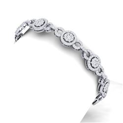 5 ctw Certified SI/I Diamond Halo Bracelet 18K White Gold - REF-402K2Y