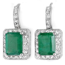 3.50 ctw Emerald & Diamond Earrings 14k White Gold - REF-87G3W