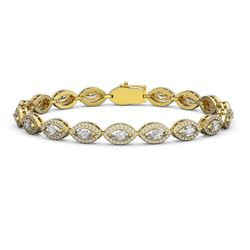 8.13 ctw Marquise Cut Diamond Micro Pave Bracelet 18K Yellow Gold - REF-684Y3X