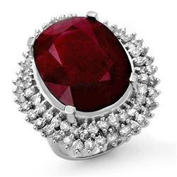 31.12 ctw Ruby & Diamond Ring 18k White Gold - REF-581Y8X