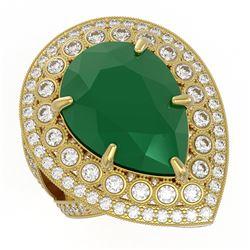 16.29 ctw Certified Emerald & Diamond Victorian Ring 14K Yellow Gold - REF-581R8K