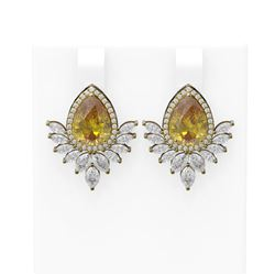 9.54 ctw Canary Citrine & Diamond Earrings 18K Yellow Gold - REF-525A5N