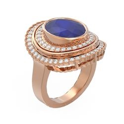 8.16 ctw Sapphire & Diamond Ring 18K Rose Gold - REF-340N2F