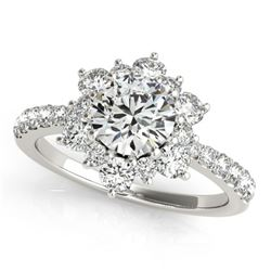 1.09 ctw Certified VS/SI Diamond Halo Ring 18k White Gold - REF-113R2K