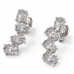 4 ctw Oval Diamond Designer Earrings 18K White Gold - REF-596R2K