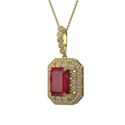 11.99 ctw Certified Ruby & Diamond Victorian Necklace 14K Yellow Gold - REF-257A8N