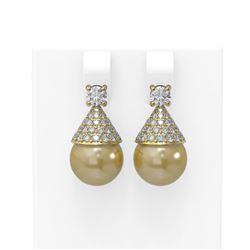 2.86 ctw Diamond & Pearl Earrings 18K Yellow Gold - REF-248A9N