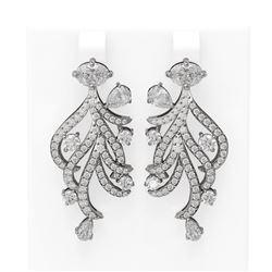 6.30 ctw Diamond Earrings 18K White Gold - REF-861G8W