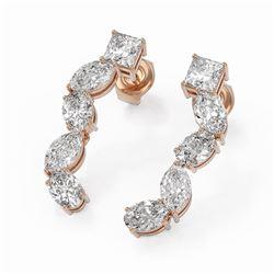 2.7 ctw Mix Cut Diamonds Designer Earrings 18K Rose Gold - REF-345K2Y