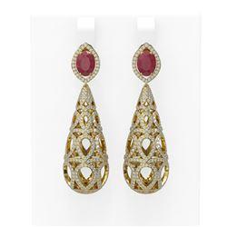 7.82 ctw Ruby & Diamond Earrings 18K Yellow Gold - REF-527H3R