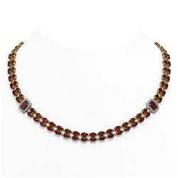 31.95 ctw Garnet & Diamond Necklace 14K Yellow Gold - REF-436R4K