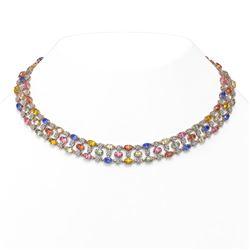 44.09 ctw Multi Color Sapphire & Diamond Necklace 10K Rose Gold - REF-618M2G
