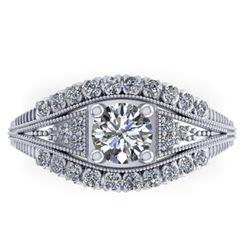 1.50 ctw Solitaire VS/SI Diamond Ring Art Deco 14k White Gold - REF-232F2M