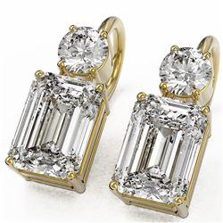 2.5 ctw Emerald Cut Diamond Designer Earrings 18K Yellow Gold - REF-734X9A