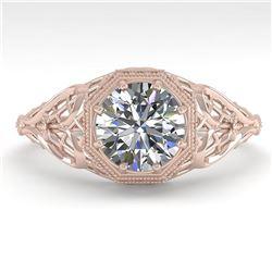 1.0 ctw VS/SI Diamond Engagment Ring Art Deco 18k Rose Gold - REF-299R4K