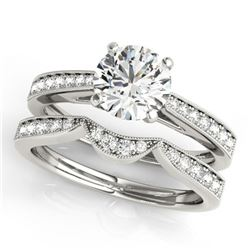 0.94 ctw Certified VS/SI Diamond 2pc Wedding Set 14k White Gold - REF-101F8M