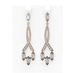 5.41 ctw Marquise Diamond Earrings 18K Rose Gold - REF-824G6W