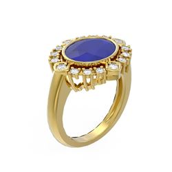 4.54 ctw Sapphire & Diamond Ring 18K Yellow Gold - REF-154W5H