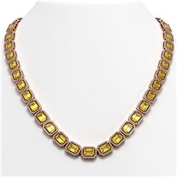 52.94 ctw Fancy Citrine & Diamond Micro Pave Halo Necklace 10k Rose Gold - REF-763R6K