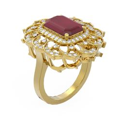 6.75 ctw Ruby & Diamond Ring 18K Yellow Gold - REF-178M2G