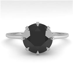 2.0 ctw Black Diamond Designer Engagment Ring 18k White Gold - REF-73H5R