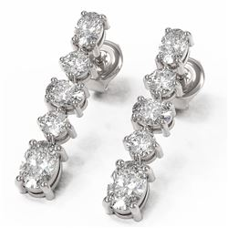 3.78 ctw Oval Diamond Designer Earrings 18K White Gold - REF-476M2G