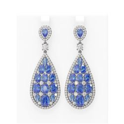 25.73 ctw Tanzanite & Diamond Earrings 18K White Gold - REF-700K2Y
