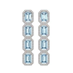 11.54 ctw Aquamarine & Diamond Micro Pave Halo Earrings 10k White Gold - REF-209N3F