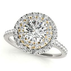 1.5 ctw Certified VS/SI Diamond Solitaire Halo Ring 18k 2Tone Gold - REF-313W6H