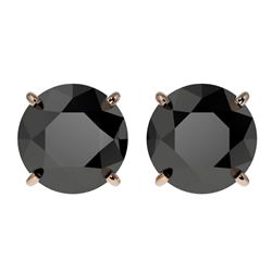 3.50 ctw Fancy Black Diamond Solitaire Stud Earrings 10k Rose Gold - REF-60H3R