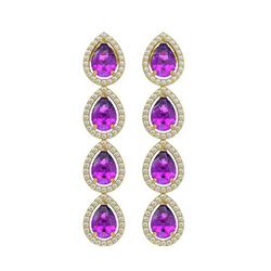 7.85 ctw Amethyst & Diamond Micro Pave Halo Earrings 10k Yellow Gold - REF-152W8H