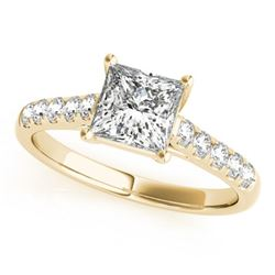 0.85 ctw Certified VS/SI Princess Diamond Ring 18k Yellow Gold - REF-99X5A