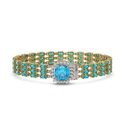 29.89 ctw Swiss Topaz & Diamond Bracelet 14K Yellow Gold - REF-281M8G