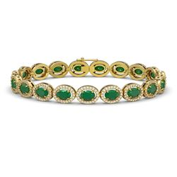 15.2 ctw Emerald & Diamond Micro Pave Halo Bracelet 10k Yellow Gold - REF-300X2A