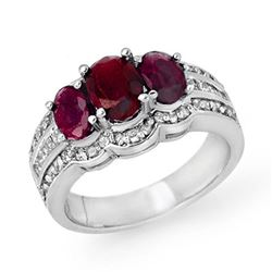 3.50 ctw Ruby & Diamond Ring 14k White Gold - REF-110K2Y